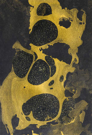 Abstract hand painted dark texture with gold marble swirls. Creative background for scrapbook, stationery, web, paper packaging, art poster or banner. Liquid paints colorful chaotic wavy surface. Modern style.