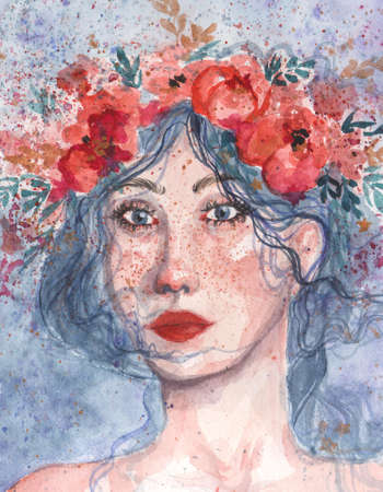 Watercolor illustration. Beautiful young girl's romantic emotional portrait. Adorable woman in floral wreath on her hair.