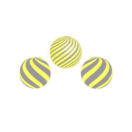 Set of the abstract vector shapes in grey and yellow colors. Ball, sphere striped design. Illusztráció