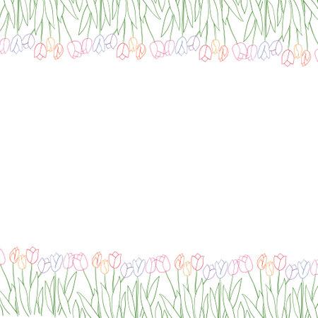 Vector spring card design with colorful tulip flowers. Illusztráció