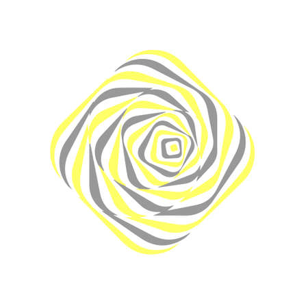 Optical illusion. Abstract vector shape in grey and yellow colors.