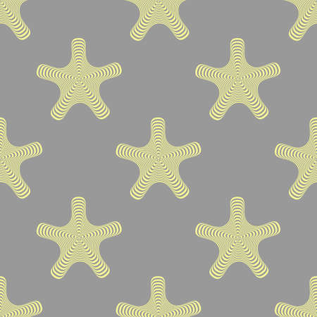 Seamless vector pattern in grey and yellow colors. Abstract decorative texture with abstract twisted shapes.