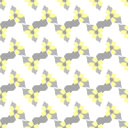 Seamless vector pattern in grey and yellow colors. Abstract decorative texture.