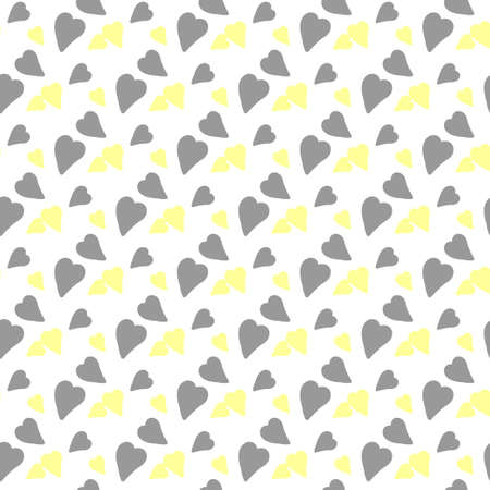 Seamless vector pattern in grey and yellow colors. Decorative texture with small hearts.