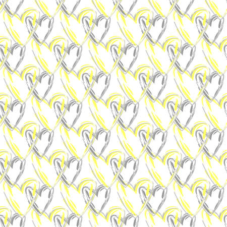 Seamless vector pattern with hearts in grey and yellow colors.