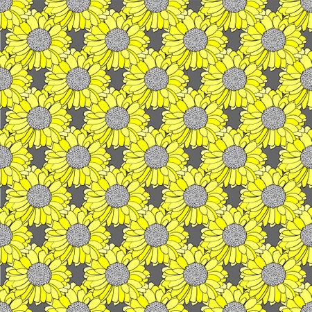 Seamless vector pattern in grey and yellow colors. Illusztráció