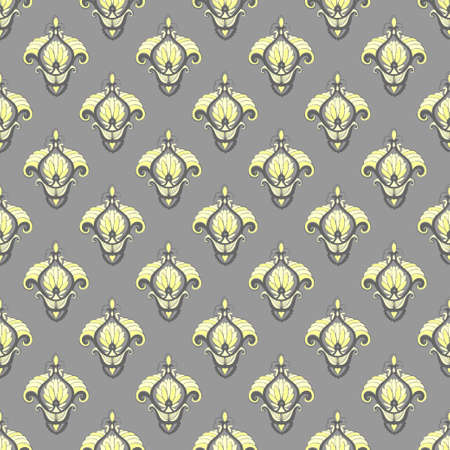 Seamless abstract vector pattern in grey and yellow colors.