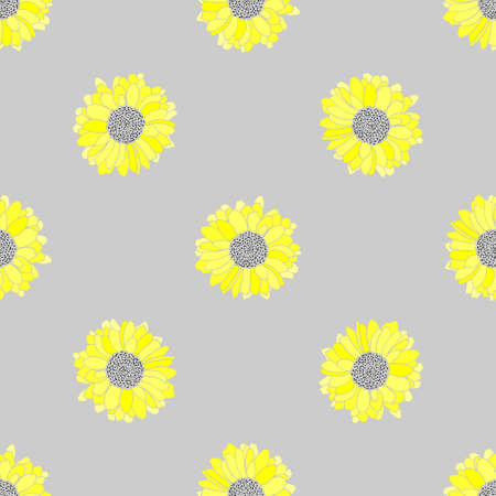 Seamless floral vector pattern in grey and yellow colors.