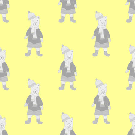 Vector seamless pattern in grey and yellow colors with funny bear dressed in coat, scarf and cap. Cartoon style.