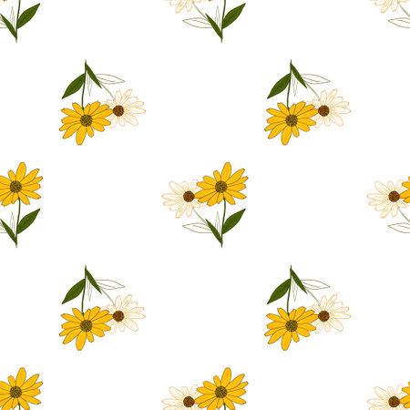 Seamless pattern of yellow rudbeckia flowers. Floral texture, botanical background. Illusztráció