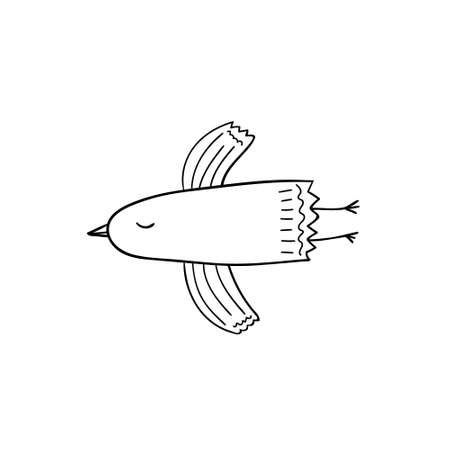 Funny vector illustration of flying bird. Coloring book element.