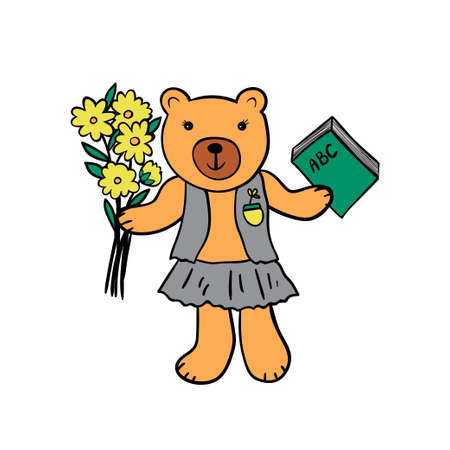 Cute bear with the book and flowers. Ilustrace