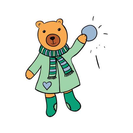 Cute bear in scarf and coat with a snowball.