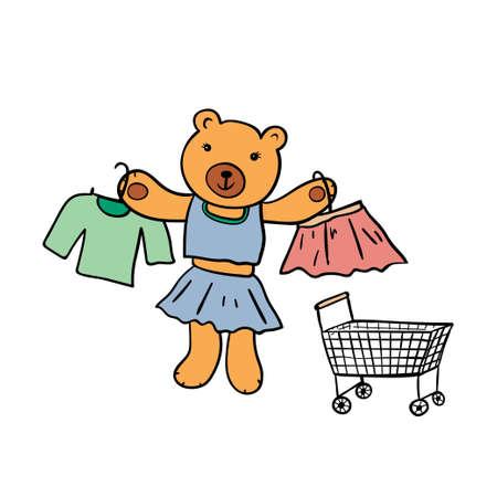 Cute bear with shopping cart.