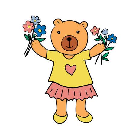 Cute bear with flowers. Emotional cartoon character.