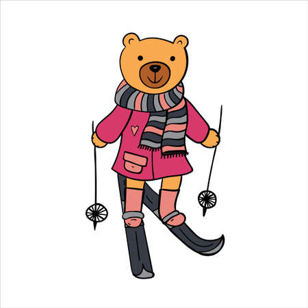 Skiing funny animal in warm coat and striped scarf. Ilustrace