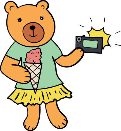 Cute bear taking photo and eating icecream.