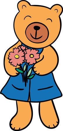 Cute bear. Emotional cartoon character. Funny animal.