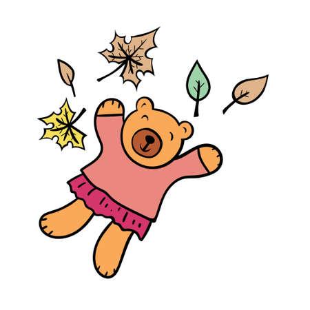 Cute bear and autumn leaves. Ilustrace
