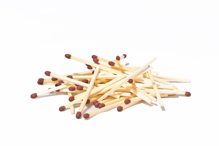 several matches out of the box,over white blackground Stock Photo