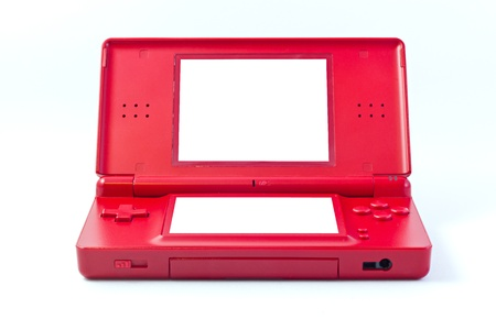 portable console red with white screens