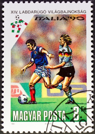 HUNGARY - CIRCA 1990: a stamp printed in Hungary,commemorating the World Cup Italy 90,circa 1990