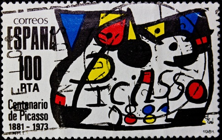 pablo: SPAIN - CIRCA 1981: A stamp printed in Spain,commemorating the centenary of the death of pablo picasso,circa 1981.