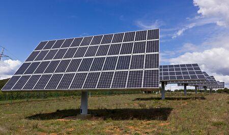Solar energy panel in blue sky Stock Photo