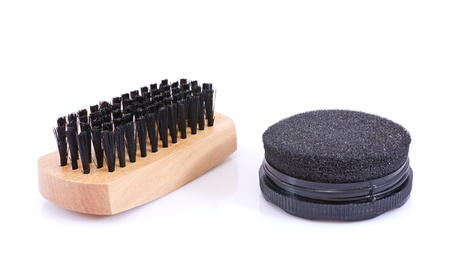 tools to clean shoes,black background