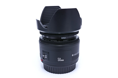 a 50mm camera lens,white blackground Stock Photo