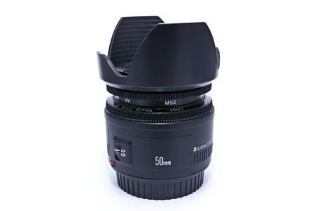 telezoom: a 50mm camera lens,white blackground Stock Photo