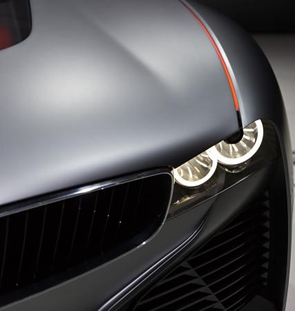 Closeup of sport car headlight