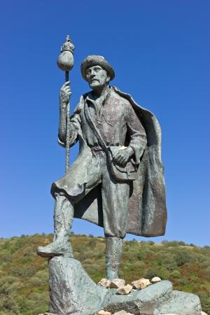 Monumento a los peregrinos del Camino de Santiago Foto de archivo