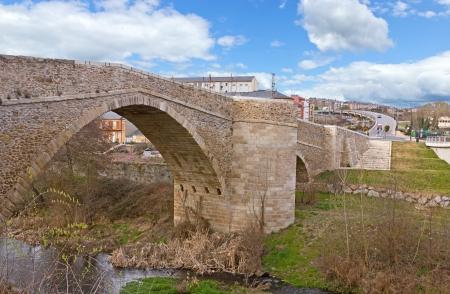 Puente romano sobre el r�o Boeza, Ponferrada Foto de archivo