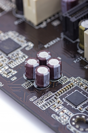 capacitors: Detail of pcb with capacitors