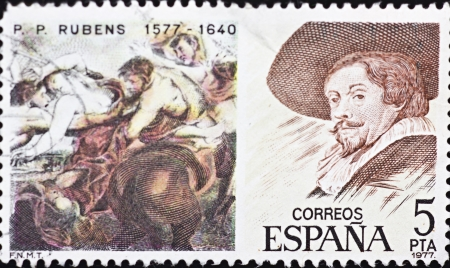 SPAIN - CIRCA 1977: A stamp printed in Spain,shows a portrait and paint of Peter Paul Rubens,circa 1977. Stock Photo - 15945218