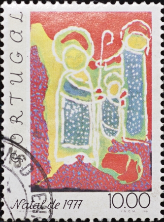 PORTUGAL - CIRCA 1977: A stamp printed in Portugal,shows an image celebrating Christmas,circa 1977.