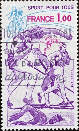 FRANCE - CIRCA 1978: A stamp printed in France,shows a representation of various sports and slogan  Stock Photo - 15951131