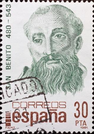 ESPA�A - CIRCA 1981: Un sello impreso en Espa�a, muestra un retrato de San Benito, alrededor del a�o 1981.