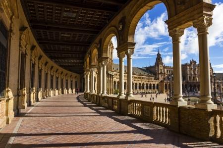 Hall of Spanish Square in Sevilla, Spain