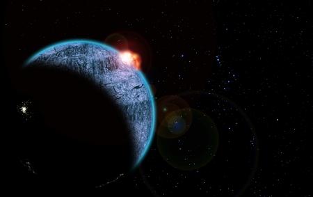 Rising Sun ilustraci�n sobre Blue Planet y la constelaci�n de Ori�n en el fondo Foto de archivo