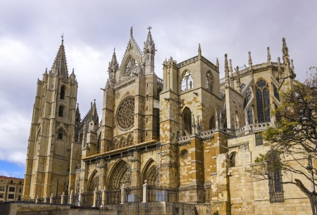 Gothic cathedral of Leon, Castilla Leon, Spain  photo