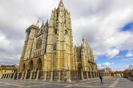 Gothic cathedral of Leon, Castilla Leon, Spain  Stock Photo - 16604796