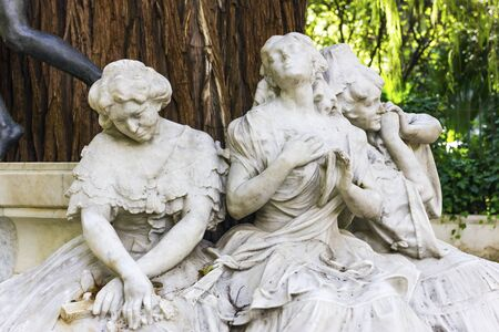 Gustavo Adolfo Becquer Monument  1836-1870  in Park Maria Luisa, Seville, Spain  Stock Photo