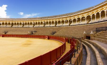 plaza de toros: Bullfight arena, plaza de toros in Seville,La Maestranza, Spain