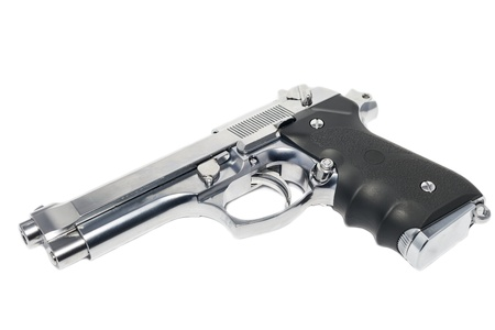 Modern handgun M9 close-up  Isolated on a white background