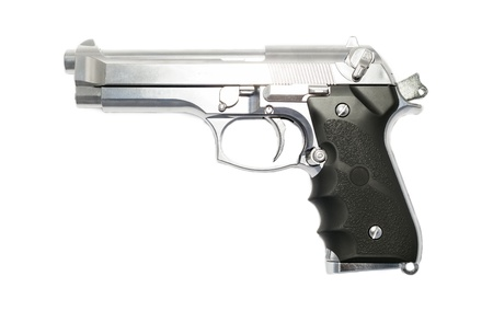 semi automatic: Modern handgun M9 close-up  Isolated on a white background