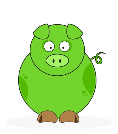 Funny Green pig isolated on white  Stock Vector - 16958006