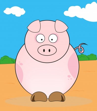 Funny pig quietly in a meadow  Stock Vector - 16958011