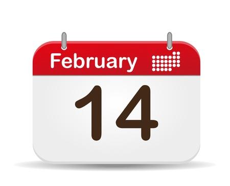 14: 14 de febrero calendario Vectores